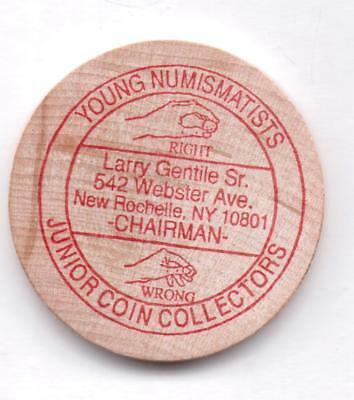 Young Numismatists-New Rochelle,ny-Wooden Nickel-One 1/2 Inches Width