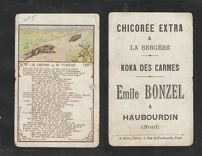 1880s CHICOREE EXTRA    THE TORTOISE AND THE HARE   FRENCH VICTORIAN TRADE CARD