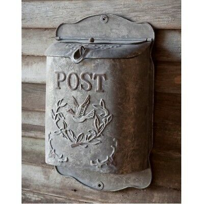 Vintage Shabby Cottage Style Metal Bird Mailbox Letter Wall Mount French Postbox