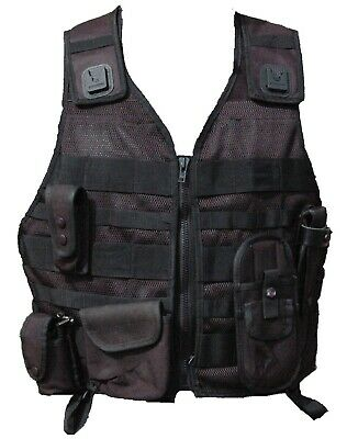 New Ex Police Black Molle Tactical Vest 5 Pouches Airsoft Combat Security 5SN