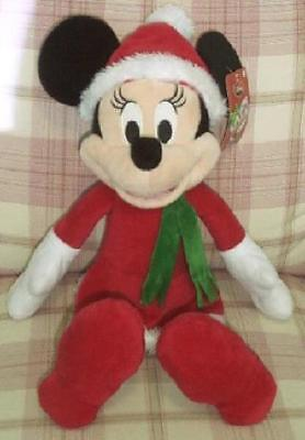 """Disney Mickey Mouse Christmas Minnie Mouse 18"""" Plush Doll New With Tags"""
