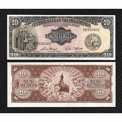 Philippines P-136e ND Sign. 5 10 Pesos-Crisp  Uncirculated