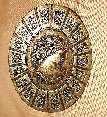 Vintage HYER Brass WOMEN Cameo Furniture Cabinet KNOB Handle Door Drawer PULL