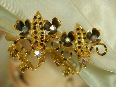SPARKLY Austria Signed Black Enamel Vintage 50's Rhinestone Flower Earrings 71n7
