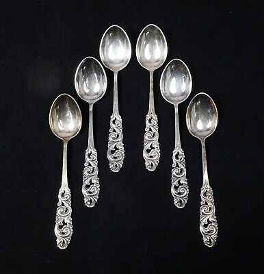 Vintage Cased Set 6 Brodrene Mylius Norway 830S Silver TELE Coffee Tea Spoon