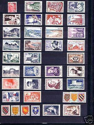 FRANCE STAMP ANNEE COMPLETE 1954 NEUVE xx LUXE , 40 TIMBRES , VALEUR: 323€  B296