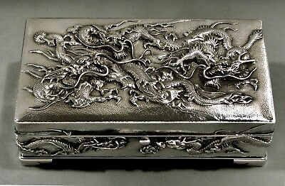 Japanese Sterling Box      *seven Battling Dragons*          Arthur & Bond
