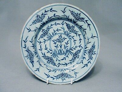 English blue and white delft/tin glaze plate with all over floral decoration 5ww