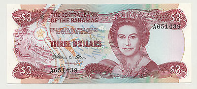 Bahamas 3 Dollars 1974 Pick 44 UNC UNCIRCULATED Banknote