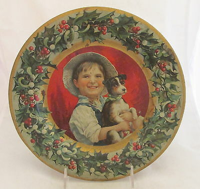 Antique C D Kenny Tin Litho Advertising Plate Christmas Boy w/Dog & Holly Berry
