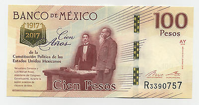Mexico 100 Pesos 25-1-2016 Pick New UNC Uncirculated Banknote 100 Years Constitu