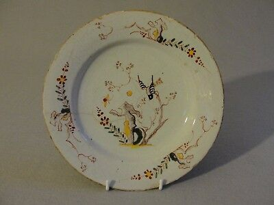 18th Century Delft Plate polychrome with bird, rock, florals (11)