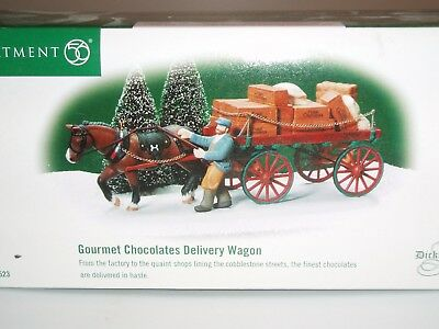 DEPT 56 DICKENS' VILLAGE accessory  GOURMET CHOCOLATES DELIVERY WAGON NEW IN BOX