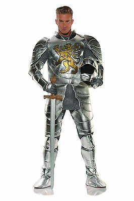 Knight in Suit Armor Platemail Medieval Chainmail Mens Adult Halloween Costume