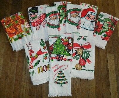 Great Vintage Mid Century Lot of 12 CHRISTMAS  Kitchen Dish Towels Wash Cloths