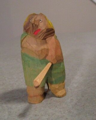 "Hand carved Folk Art Signed Norge Bear Animal Baseball Bat Leather Tail 3"" Tall"