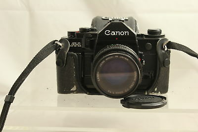Canon A-1 Camera 50 mm With Lense And Case For Parts Or Repair (350)