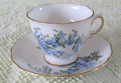 Ridway Potteries Royal Vale Blue Floral Bone China Cup & Saucer Made in England