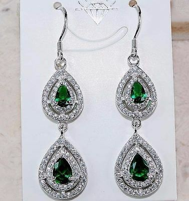 4CT Emerald Quartz & White Topaz 925 Solid Sterling Silver Earrings Jewelry,T5-3