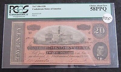1864 Confederate States Of America $20 T-67 PCGS Choice About New 58PPQ