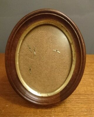 Vtg Retro Walnut & Gilt Oval Small Picture Frame Standing Original Box 15.5 x 13