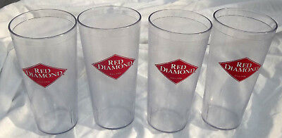 """4"" Vintage ""red Diamond Brand Coffee"" Plastic Glasses/tumblers--Vg Condition!"