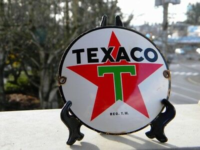 "Texaco Old Porcelain Sign~4-3/4"" Motor Oil Pump Gas Station Lubester Advertising"