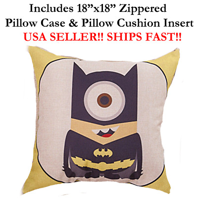 "18x18 18"" 18in MINIONS BATMAN Zipper Throw Pillow Case Cushion Disney Marvel DC"