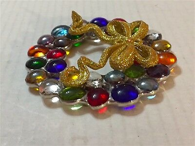 "4' Multi  Jewel Tone  "" Leaded""  Stain Glass  Christmas Wreath  Gorgeous Sparkle"