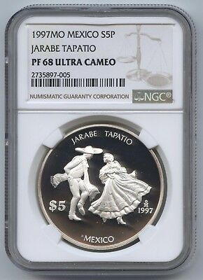 1997 Mexico Silver 5 Peso NGC PF68 Ultra Cameo, Jarabe Tapatio Mexican Hat Dance