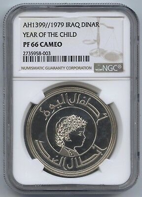 1979 Iraq Silver Dinar Year of the Child NGC PF66 Cameo