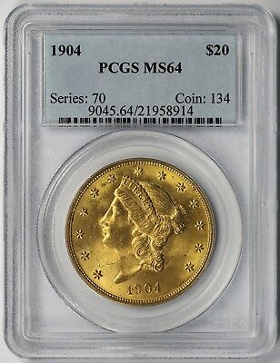 1904 Liberty Head Double Eagle Gold $20 MS 64 PCGS