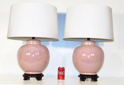 Pair Pink Iridescent Ginger Jar 1930s 40s Art Pottery Lamps Orig Wood Bases