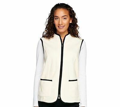Susan Graver Polar Fleece Zip Vest Contrast Trim French Vanilla S NEW A239803