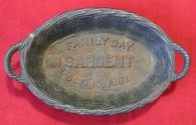 Vintage Sargent Family Day October 16 1952 Cast Iron Wicker Advertising Basket