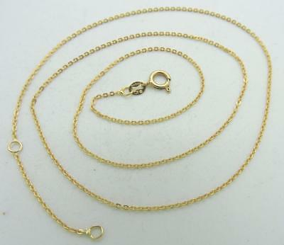 "14K Yellow GOLD Italy Fine Rolo link Chain Necklace adjustable 18"" 1.58 Grams"