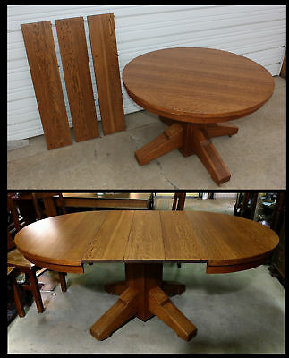 "Antique Beefy Mission Solid Quartersawn Oak Arts & Crafts 45"" Rd Table +3 Leaves"