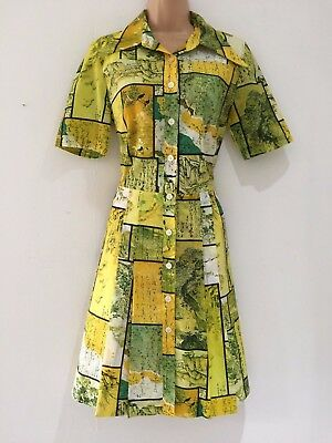 Vintage 70s Mod Yellow & Green Patchwork Countryside & Bird Print Shift Dress 10