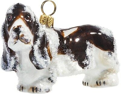 Snowy Snow Covered Basset Hound Dog Polish Glass Christmas Tree Ornament Pet