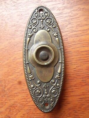 "Antique Ornate Victorian Brass Doorbell Button ""Alden"" Russell & Erwin c1885"