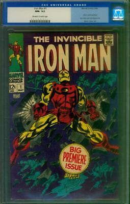 Iron Man # 1 Cgc 9.2 Nm-  Off White To White Pages  1968 Old Label