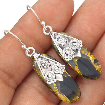 Copper Black Turquoise 925 Sterling Silver Earring Jewelry EE71873