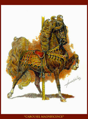 """CAROUSEL HORSE NOTE CARDS """"CAROUSEL MAGNIFICENCE"""" by JAMES WALLS"""