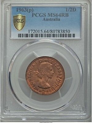 Australia Elizabeth II 1/2 Penny 1963 P PCGSMS64 Red and Brown
