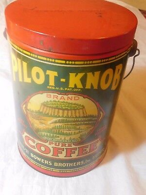 VINTAGE PILOT-KNOB COFFEE CAN by BOWERS BROTHERS RICHMOND VA. 3 POUNDS
