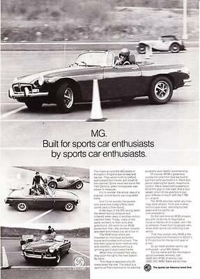 "1973 MG MGB Convertible photo ""Built for Sports Car Enthusiasts"" promo print ad"