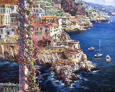 Home deco Wall art Amalfi Street View oil painting HD printed on canvas L1602