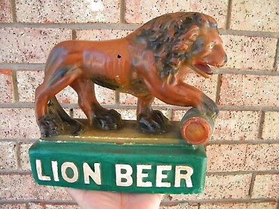 X RARE Vintage LION BEER Chalkware Statue Sign Display THE LION Wilkes Barre Pa.