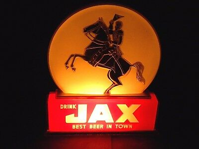 X Very Rare JAX BEER Round Disc LIGHT UP SIGN - Gold GENERAL JACKSON ON HORSE