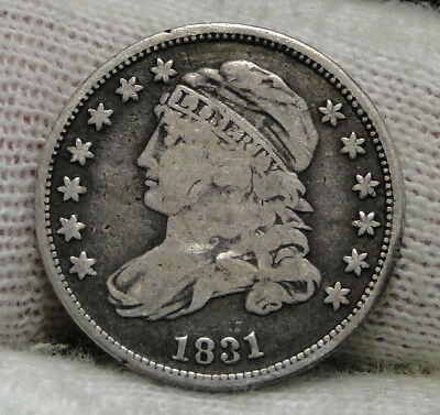 1831 Capped Bust Dime 10C 10 Cents - Nice Old Coin, Free Shipping  (6552)